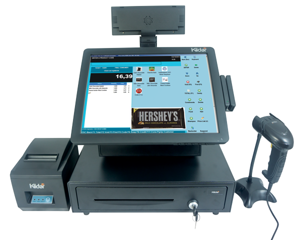 Retail Bundel POS System, Pos Touch Screen Terminal, Thermal Printer, Barcode Scanner, POS Software Included